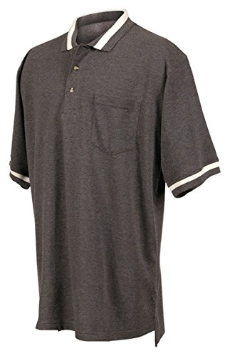 Tri-Mountain 179 pique pocketed golf shirt - Charcoal / Ivory - 2XLT