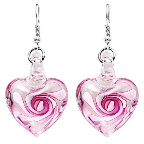 AUWU 1 Pair Crystal Flower Heart Glass Drop Earrings Women Girls Lady Drop Dangle Hook Earrings ()