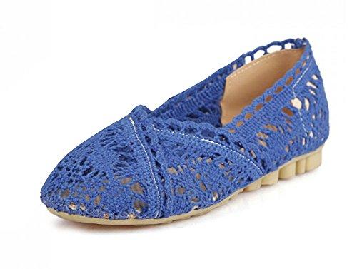 Aisun Women's Soft Hollow Out Crochet Slip On Loafers Flats Sandals Blue OtI4ZgcDrq