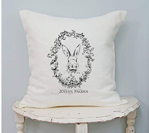 3Funk Bunny Pillow Cover French Farmhouse Country Decor Shabby Chic Spring Pillow Easter Pillow