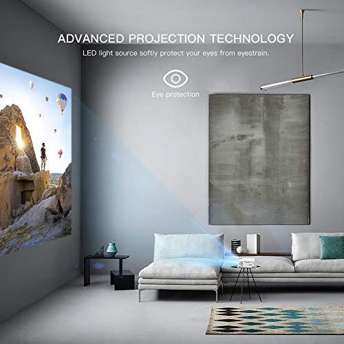 Proyector APEMAN 3500 Lumen Mini videoproyector portátil Altavoces duales incorporados Vida útil de hasta 50000 Horas para Cine en casa...
