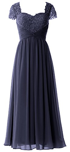 MACloth Women Cap Sleeves Mother of Bride Dress Lace Chiffon Evening Formal Gown Azul Marino Oscuro