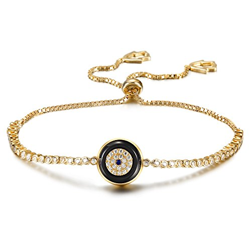 Wistic Hamsa Evil Eye Adjustable Bracelet Kabbalah Silver String Bracelet for Women Men Girls Boys (Gold Evil Eye) ()