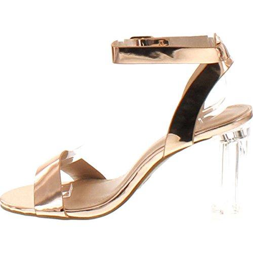 Open Toe Sandal Strappy Block 70 Lucite High Clear Top Heel Alma Chunky Women's Champagne Moda Peep q1SwfS