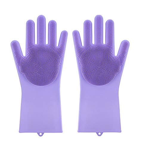 - Scrub Glove for Dishes,Magic Silicone Dishwashing Gloves with Scrubbers, Hand Clean Scrub Glove for Cleaning Kitchen (Purple,1 Pair)