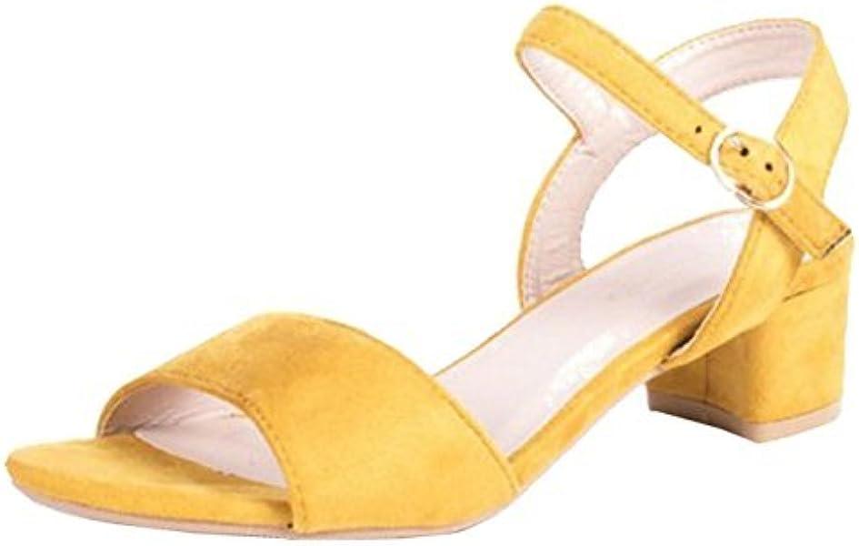 4b42342df8b SHU CRAZY Mylie Low Block Heel Sandal Shoes-Yellow-UK 8 EU 41   Amazon.co.uk  Shoes   Bags