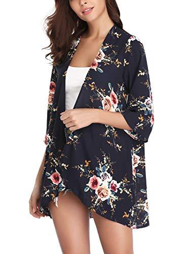 Aibrou Women's Cardigan Sheer Kimono Loose Summer Floral Print Chiffon Cover Ups Blue ()