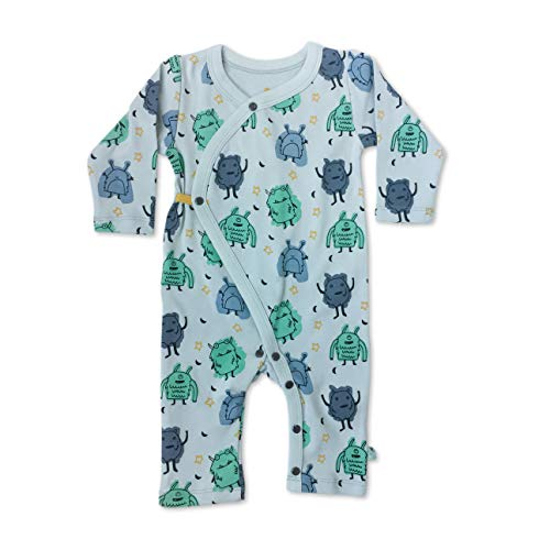 Finn + Emma Organic Cotton Coverall Jumpsuit for Baby Boy or Girl - Monsters, 9-12 Months