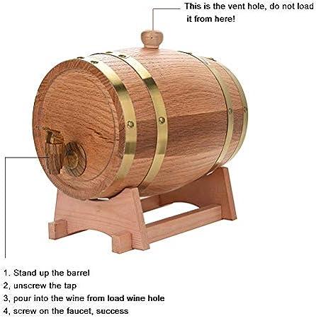 Barril de madera de roble de vino, dispensador barril de vino para aging vino para conservación Whisky, Vino, Rum, Tequila, miel, vinagre(3 L)