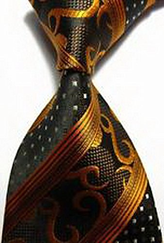 Calvinci - Patterns Stripes Gold Brown Black JACQUARD WOVEN Silk Men's Tie Necktie TGIN 120320