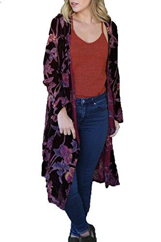 Angie Women's Velvet Burnout Duster Kimono Burgundy