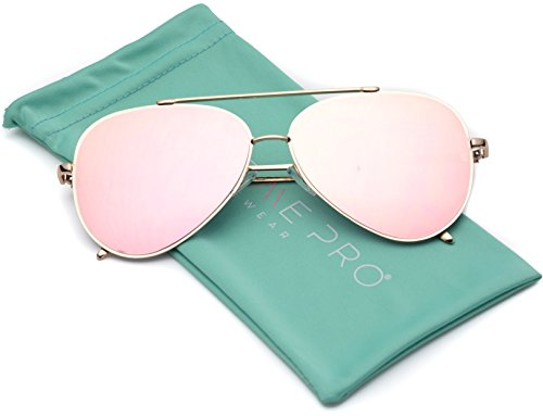 WearMe Pro - Flat Lens Mirrored Revo Metal Frame Aviator - Mirrored Sunglasses With Lenses