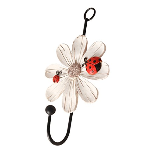 Dovewill Daisy Flower Wall Hook/Holder/Hanger Bag/Key/Coat/Towel Kitchen Storage - White, 14x8cm