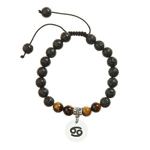 Meibai Handmade 8mm Lava Rock Tiger Eye Natural Stone Beads Bracelet with Constellation Zodiac Sign Charm Adjustable Size - Sign Zodiac Cancer