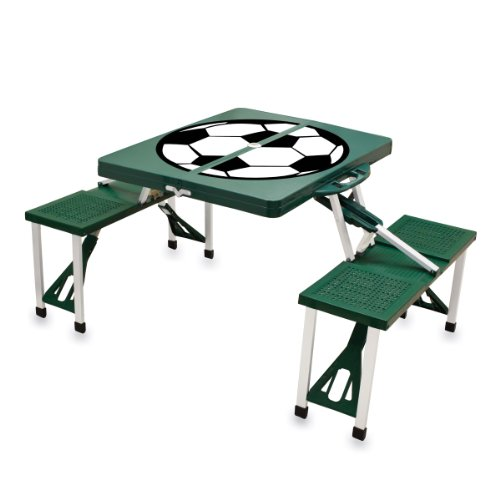 Picnic Time 'Portable Folding Picnic Table' with Soccer Design and Seating for 4, Green Woven Top Dining Table