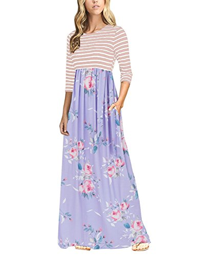 all Casual Empire Waistline 3/4 Sleeve Pocket Striped Floral Floor Length Dress Purple Floral medium (Medium Womens Skirt Dress)