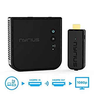 Nyrius Aries Prime Wireless Video HDMI Transmitter & Receiver for Streaming HD 1080p 3D Video & Digital Audio from Laptop, PC, Cable, Netflix, YouTube, PS to HDTV/Projector (NPCS549)