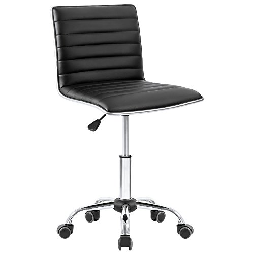 Homall Office Chair Armless Task Chair Leather Desk Chair Mid Back Managerial Executive Chair Upholstery Computer Chair Secretarial Chair (Black) by Homall