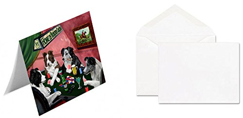 Home of 4 Border Collies Dogs Playing Poker Note Card (10)