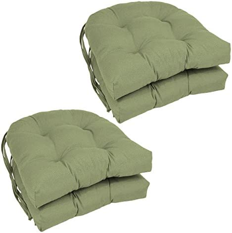 Blazing Needles Solid Twill U-Shaped Tufted Chair Cushions Set of 4