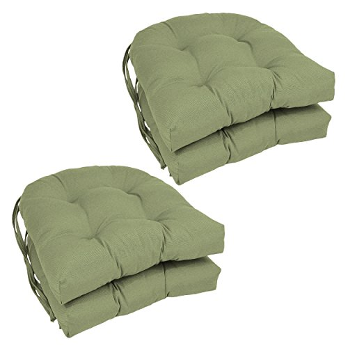 Blazing Needles Solid Twill U-Shaped Tufted Chair Cushions (Set of 4), 16