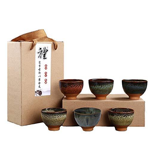 KCHAIN 6PCS Handmade Ceramic Cup Set 2.5oz 6 Colors Pottery Teacups Sake Cups for Tea Saki (A) ()
