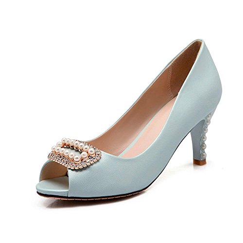 Amoonyfashion Mujeres-pull-on High-heels Pu Sandalias Peep-toe Sólidas Azul
