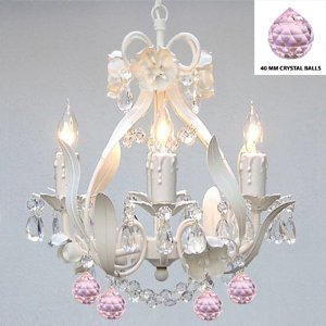 White Iron Crystal Flower Chandelier Lighting W/ Pink Crystal Balls!swag Plug In-chandelier W/ 14' Feet Of Hanging Chain And Wire! - Perfect For Kid's And Girls Bedroom!