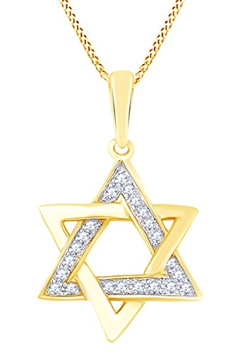 - AFFY Round White Natural Diamond Star of David Pendant Necklace in 14k Solid Yellow Gold (0.06 Ct)