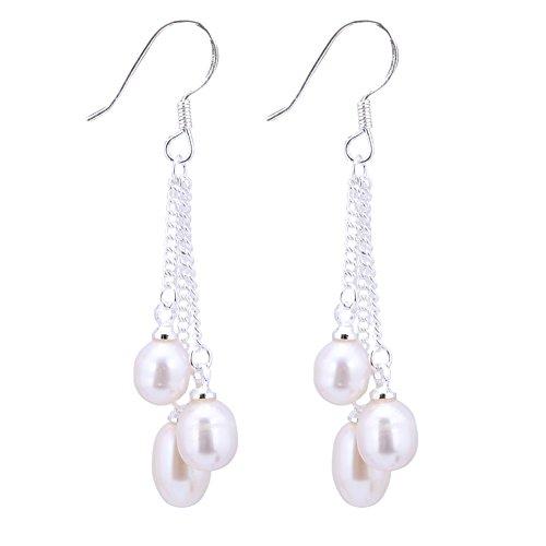 6 Multi-Color Cultured Freshwater Pearl Dangle Earrings 1.5 (Multi Color Freshwater Pearl Earrings)