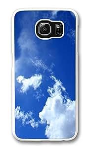 VUTTOO Rugged Samsung Galaxy S6 Edge Case, Blue Sky White Clouds Lockscreen Hard Plastic Case for Samsung Galaxy S6 Edge PC White