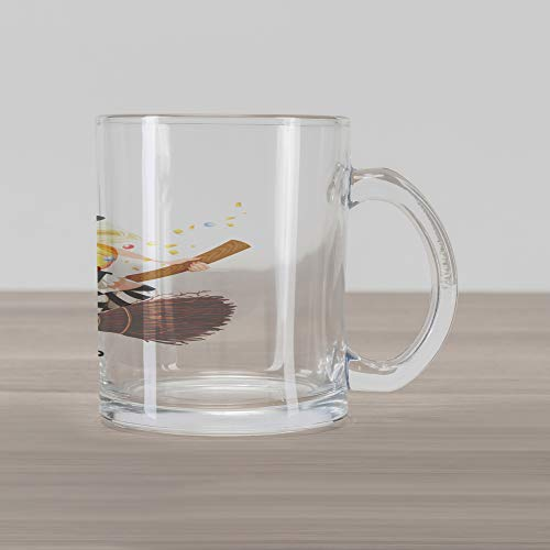 (Lunarable Witch Glass Mug, Young Witch on a Broomstick Flying with Candies in Her Pumpkin Halloween Costume, Printed Clear Glass Coffee Mug Cup for Beverages Water Tea Drinks,)