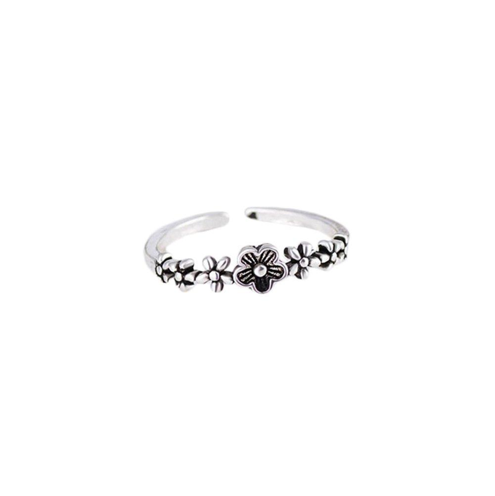 Westeng femminile aperto anello regolabile retrò argento anello gioielli eleganti fiori di prugna