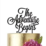 The adventure begins, Cake Topper Wedding, Cake Toppers, Birthday Party Supplies Anniversary Cake Toppers (width 6'', gold mirror)