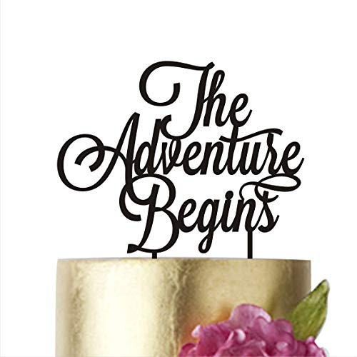 The adventure begins, Cake Topper Wedding, Cake Toppers, Birthday Party Supplies Anniversary Cake Toppers (width 5'', gold mirror) by HappyPlywood