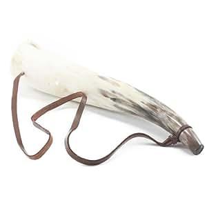 Clarín de cuerno tamaño mediano, color claro, pulido, para actuar escenas de caza