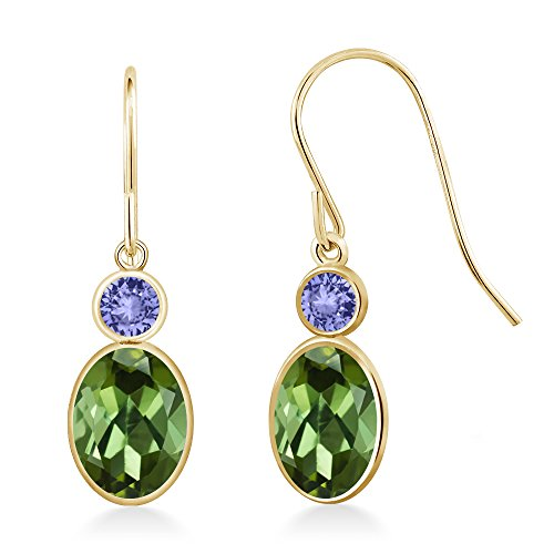 Gem Stone King 1.94 Ct Oval Green Tourmaline Blue Tanzanite 14K Yellow Gold ()