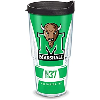 Clear Tervis 1229642 Marshall Thundering Herd College Pride Tumbler with Wrap and Black Lid 24oz