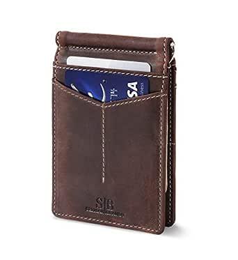 SERMAN BRANDS RFID Blocking Wallet Slim Bifold - Genuine Leather Minimalist Front Pocket Wallets for Men with Money Clip - - slim