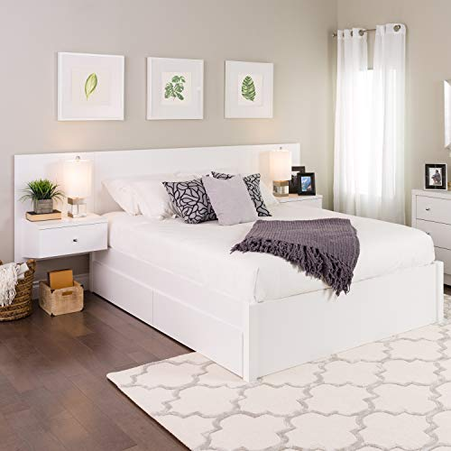 Prepac WHHQ-0520-2K Series 9 Designer Floating Headboard with Nightstands, Queen, White
