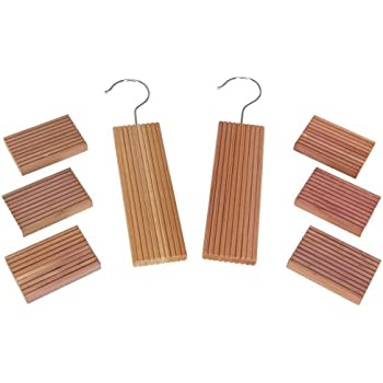 Household Essentials 97204 CedarFresh Red Cedar Wood Closet Value Pack – 2 Cedar Hang Ups and 6 Cedar Blocks
