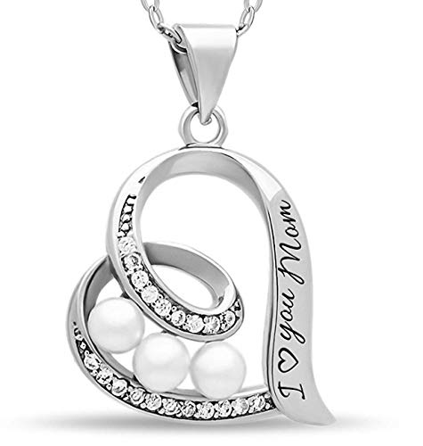 - 925 Sterling Silver Elegant Mother Necklace Solid Silver Heart Necklace for Mom Engraved