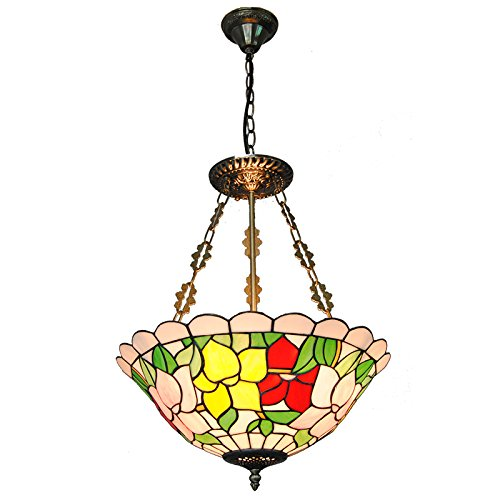 Chandelier Pendant Inverted (Cheerhuzz 16 Inch Vintage Tiffany Style Chandelier Lamp Stained Glass Inverted Pendant Light Retro Flowers Pattern Restaurant Living Room Lightings 3 Lights Baroque Hanging Lights PL801)
