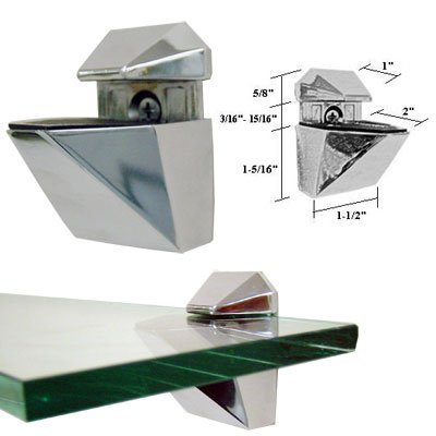 Amazoncom Polished Chrome Adjustable Glass or Wood Shelf Brackets