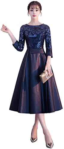 ef4f38045e3 Drasawee Women s Elegant 2 3 Sleeves Satin Evening Dress A Line Sequined  Formal Dresses
