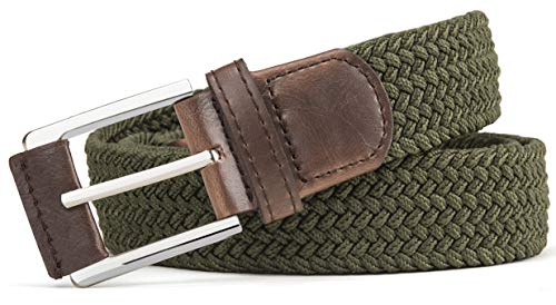 """Belt for Men,Woven Stretch Braided Belt 2 Unit Gift-boxed Golf Casual Belts,Width 1 3/8"""""""