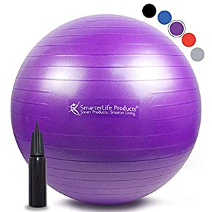Exercise Ball for Yoga, Balance, Stability from SmarterLife – Fitness, Pilates, Birthing, Therapy, Office Ball Chair, Classroom Flexible Seating – Anti Burst, No Slip, Workout Guide
