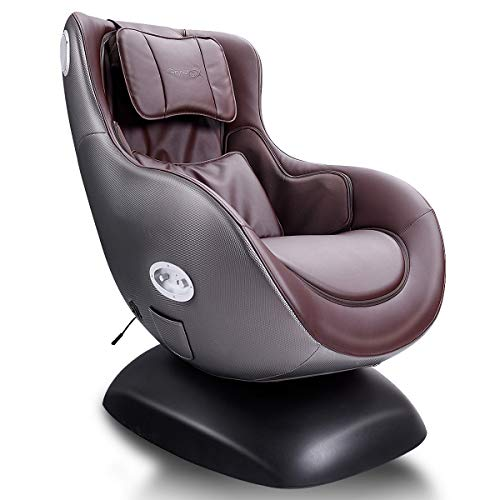 Giantex Leisure Curved Massage Chair Shiatsu Massage with Heating Therapy Video Gaming Chair, with Wireless Bluetooth Speaker and USB Charger for Home Office Use (Brown) (Removing Chair Rail)