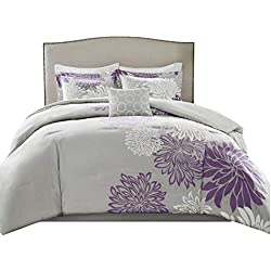 Comfort Spaces – Enya Comforter Set - 5 Piece – Purple, Grey – Floral Printed – Full/Queen Size, Includes 1 Comforter, 2 Shams, 1 Decorative Pillow, 1 Bed Skirt