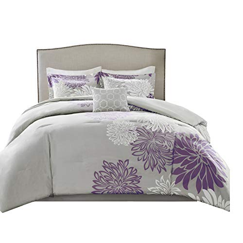 nya Comforter Set - 5 Piece – Purple, Grey – Floral Printed – Full/Queen Size, Includes 1 Comforter, 2 Shams, 1 Decorative Pillow, 1 Bed Skirt ()